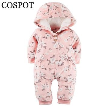 COSPOT Limited Sale Infant Bebes Hooded Jumpsuit Long Sleeved Fleece Winter Baby Girls Baby Boys Newborn Christmas Rompers 40F