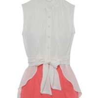 New Look Mobile | Jumpo White and Pink High Neck Tie Waist Shirt