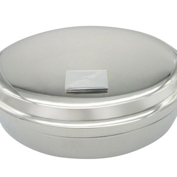 Silver Toned Etched Satellite Pendant Oval Trinket Jewelry Box