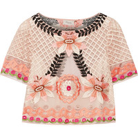 Temperley London - Belle cropped embroidered tulle top