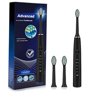 Electric Toothbrush Clean as Dentist Rechargeable Sonic Toothbrush with Smart Timer 4 Hours Charge Minimum 30 Days Use 5 Optional Modes Waterproof Fully Washable 3 Replacement Heads Black by Fairywill