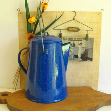 Graniteware Coffee Pot Cobalt Blue by RollingHillsVintage on Etsy