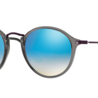 Ray Ban Round Fleck Sunglasses Transparent Grey with Blue Flash Mirror Gradient lenses RB2447N 62554o