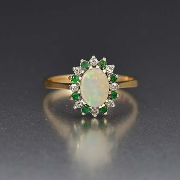 Superior Emerald Diamond and Opal Cluster Ring