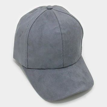 Grey Faux Suede Baseball Cap With Velcro Closure, One Size Fits All, Unisex Gift Idea