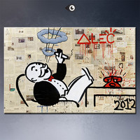 Alec monopoly no5 big Graffiti art print on canvas