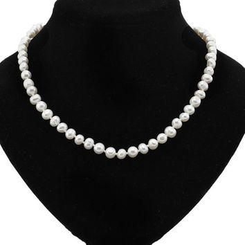 New 7-8mm genuine freshwater pearl necklace natural cultured pearl necklace jewelry for women 925 silver clasp free shipping