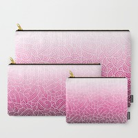 Ombre pink and white swirls zentangle Carry-All Pouch by Savousepate
