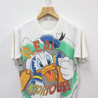 THRIFTY SALES 20% Vintage 90s DONALD Duck Real Notorious Swag Streetwear Fashion White T Shirt