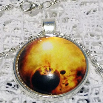 Gold Nebula Statement Jewelry for Her Fire Galaxy Necklace White Jewelry GALACTIC SUPER VOLCANO