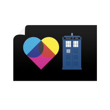 I Heart Tardis Horizontal Wall Decals