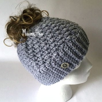 Handmade Messy Bun Hat Grey Light Gray Beanie Wood Button Teens Women Runner Ponytail Holder