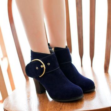 New Women Blue Round Toe Chunky Buckled Casual Ankle Boots