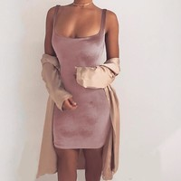 Scoop Neck Fitted Bodycon Velvet Dress 3 Colors