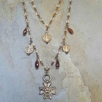 Double Strand Crystal Garnet St. Benedict Pendant Necklace