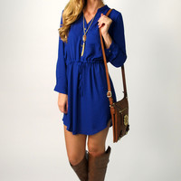 Avalon 3/4 Sleeve Drawstring Tunic Dress: Royal Blue