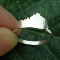 KY Kentucky State Silver Ring - Kentucky Outline Map Ring United States - Celebrity Inspired Jewellery