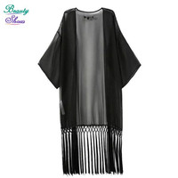 2016 New Summer Style Blouses Solid Black Tassel Kimono Bat Shawl Cardigan Turn-Down Collar Blouses Blusas Women Free Shipping