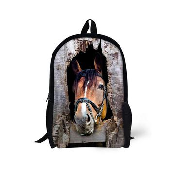 Brand 16 inch Kids School Bags Animal Crazy Horse Print Children Schoolbag for Little Boys Girls Causal Student Book Bag Mochila