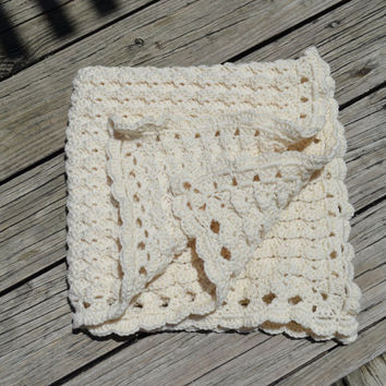 Crochet baby blanket afghan, Baby Boy or Girl, Cream colored, Stroller/Travel/Car seat Baby blanket, lap blanket, Unisex baby blanket