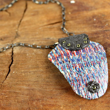 Polymer Clay Pendant - Statement Necklace, Antique Brass Chain, One Of A Kind Organic Jewelry, Gift For Her,  Hipster, Bohemian Jewelry
