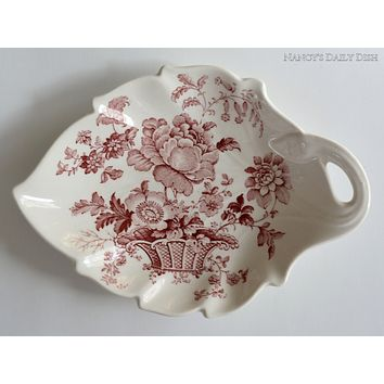 Red Transferware Leaf Shaped Dish Charlotte Basket of Flowers