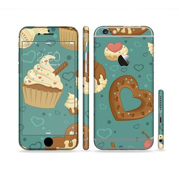 The Teal and Brown Dessert iCons Sectioned Skin Series for the Apple iPhone 6