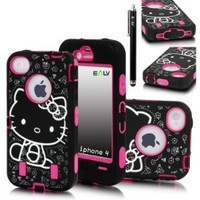 E LV Cute Design Hard and Soft Impact Hybrid Armor Case Combo for Apple iPhone 4/4S with 1 Front and Back Screen Protector, 1 Black Stylus and 1 E LV Microfiber Digital Cleaner (iPhone 4, Hot Pink)