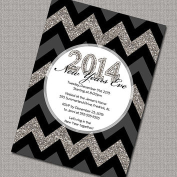 Chevron New Years Eve Party Invitations, Holiday Party invitations, Black and Gray Sparkly, Digital File