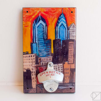 Wall Mount Bottle Opener Philly Skyline