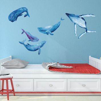 Watercolor Whale Wall Decal Set