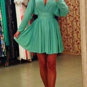 Mint Green Long Sleeve Batwing Cross Wrap V Neck Tie Waist Pleated Flare Mini Dress
