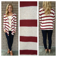 Burgundy Stripe Let it Shine Cardigan