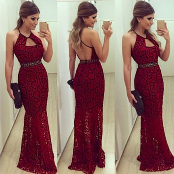 2016 New Fashion Look Elegant Sexy Halter Neck Backless Floral Lace Party Cocktail Long Dresses for Women [9222480452]