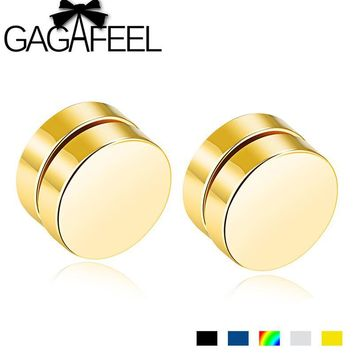 GAGAFEEL Magnetic Round Stud earrings For Men Fashion Stainless Steel Magnet Ear Jewelry
