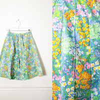 Floral Print 70s Skirt   Calico Print Vintage Floral Skirt Midi Skirt High Waisted Skirt Groovy Psychedelic Belted A Line Skirt Romantic