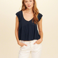 Girls Flutter-Sleeve V-Neck Top | Girls Tops | HollisterCo.com