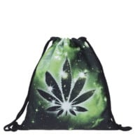 Weed in Space Galaxy Green Print Rave Drawstring Bag