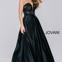 Black Satin A-Line Long Dress 36640