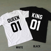 King and Queen Shirts Couples Shirts T Shirt T-Shirt TShirt Tee Shirt Unisex - Size S M L XL XXL