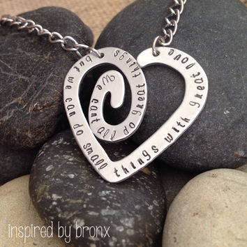 Hand stamped personalized necklace, Spiral heart, custom heart jewelry - Aluminum