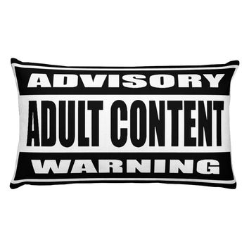 Rectangular Pillow with insert, black and white adult content advisory