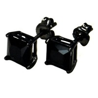 Authentic Black Enamel Stud Earrings Sterling Silver .925 Genuine Black Diamond Color Cubic Zirconia Princes Cut 2 Carat Total Weight Special Limited Time Offer Super Sale Price, Comes with a Free Gift Pouch and Gift Box | AihaZone Store
