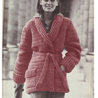 CROCHET JACKET PATTERN Vintage Pattern 70s Crochet Cardigan Pattern Instant Download
