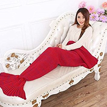 Kpblis Mermaid Tail Blanket, Red
