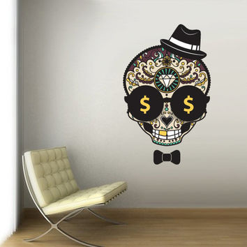 Full Color Wall Decal Mural Sticker Decor Art Beautyfull Cute Hipster  Sugar Skull Bedroom Curly modern fashion (col762)