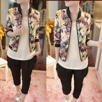 Women Stand Collar Long Sleeve Zipper Floral Printed Bomber Jacket