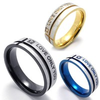 KONOV Mens Stainless Steel LOVE ONLY YOU Promise Ring Wedding Bands, Black, Size 8