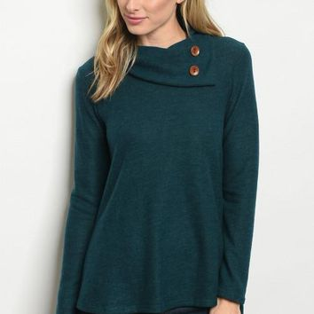 Long Sleeve Cowl Neck Button Detail Knit Tunic Top