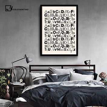NICOLESHENTING ABC Letter Alphabet Art Canvas Vintage Poster Minimalist Print Nursery Wall Picture Home Kids Room Decoration